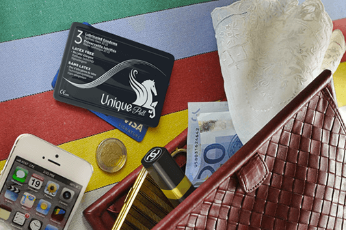 Unique condoms look like a credit card and are small
